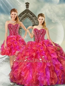 2015 Elegant and Detachable Beading and Ruffles Multi color Quince Dresses