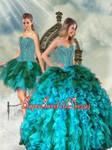 Detachable Multi color Beading and Ruffles Quinceanera Dress Skirts for 2015