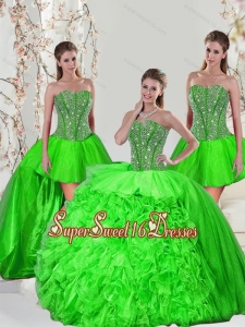 Detachable and Elegant Beading and Ruffles Quince Dresses in Spring Green for 2015