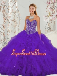 Exquisite and Detachable Purple Quinceanera Dress Skirts with Beading and Ruffles