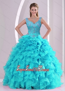 Most Popular Detachable Beading and Ruffles Quinceanera Dress Skirts in Aqua Blue