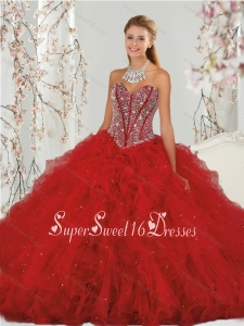 Most Popular Detachable Beading and Ruffles Red Quinceanera Dress Skirts