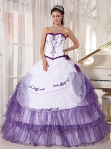 Affordable White and Purple Sweet 16 Dress Sweetheart Satin and Organza Embroidery Ball Gown