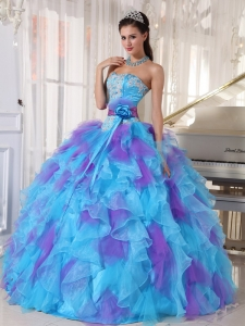 Baby Blue and Purple Sweet 16 Dress Strapless Organza Appliques Ball Gown