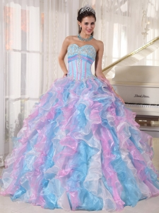 Beautiful Multi-color Sweet 16 Dress Sweetheart Organza Appliques Ball Gown
