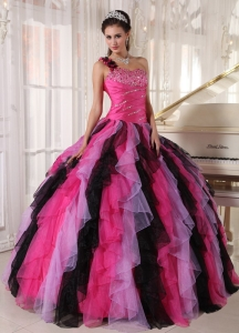 Beautiful Multi-colored Sweet 16 Dress One Shoulder Organza Beading and Ruffles Ball Gown