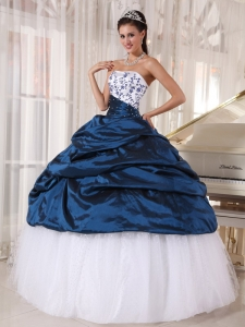 Beautiful Sweet 16 Dress Strapless Taffeta and Tulle Embroidery Ball Gown