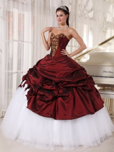 Best Burgundy and White Sweet 16 Dress Sweetheart Taffeta and Tulle Appliques Ball Gown