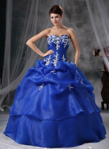 Blue Ball Gown Sweetheart Floor-length Organza Appliques Sweet 16 Dress