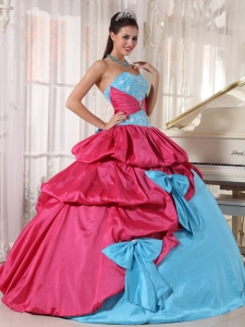 Brand New Aqua Blue and Hot Pink Sweet 16 Dress Sweetheart Taffeta Appliques Ball Gown