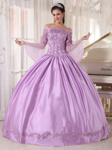 Brand New Lavender Sweet 16 Dress Off The Shoulder Taffeta and Organza Appliques Ball Gown