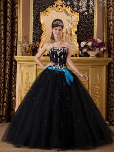 Elegant Black Sweet 16 Quinceanera Dress Strapless Appliques Tulle Ball Gown
