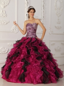 Elegant Multi-color Sweet 16 Dress Sweetheart Leopard and Organza Ruffles Ball Gown