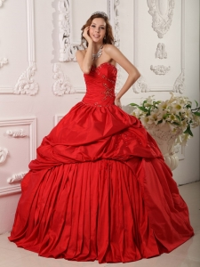 Exclusive Red Sweet 16 Quinceanera Dress Sweetheart Beading Taffeta Ball Gown