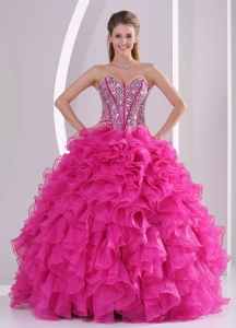 Fuchsia Ruffles Ball Gown Sweetheart Beaded Decorate Sweet 16 Gowns in Sweet 16