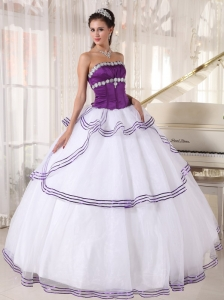 Gorgeous White and Purple Sweet 16 Dress Strapless Floor-length Organza Appliques Ball Gown