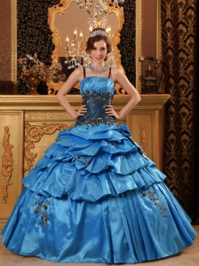 Lovely Blue Sweet 16 Quinceanera Dress Straps Taffeta Appliques Ball Gown
