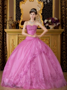 New Rose Pink Sweet 16 Quinceanera Dress Sweetheart Appliques Organza Ball Gown