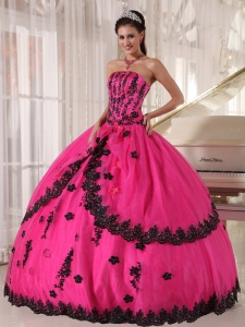 Perfect Hot Pink Sweet 16 Quinceanera Dress Strapless Appliques Ball Gown