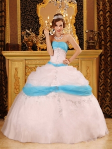Perfect White and Aqua Sweet 16 Dress Strapless Appliques Satin and Organza Ball Gown