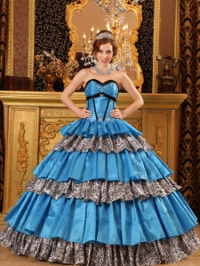 Popular Teal Sweet 16 Dress Sweetheart Taffeta and Zebra Ruffles Ball Gown