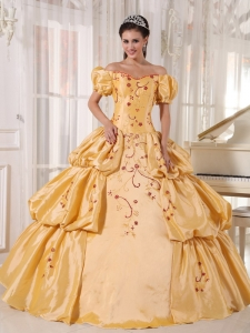 Populor Gold Sweet 16 Dress Off The Shoulder Taffeta Embroidery Ball Gown