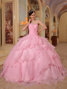 Pretty Pink Sweet 16 Quinceanera Dress Sweetheart Organza Beading Ball Gown