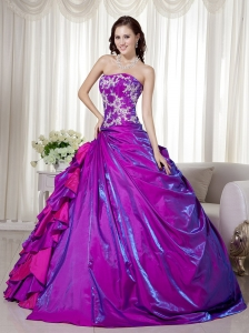 Purple Ball Gown Strapless Floor-length Taffeta Appliques Sweet 16 Dress
