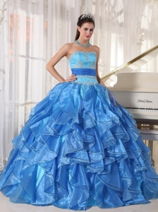Romantic Blue Sweet 16 Quinceanera Dress Strapless Organza Appliques Ball Gown