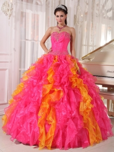 Beauty Hot Pink and Orange Sweet 16 Dress Sweetheart Organza Sequins Ball Gown