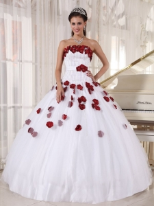 Formal White and Wine Red Sweet 16 Dress Strapless Tulle Beading and Hand Made Flowers Ball Gown