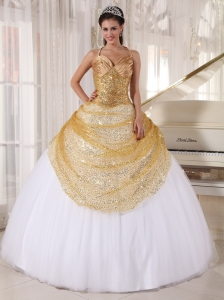 Informal Champagne and White Sweet 16 Dress Spaghetti Straps Tulle and Sequin Appliques Ball Gown