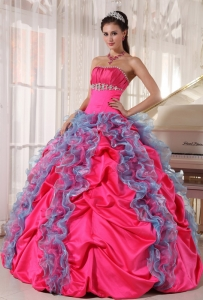 Lovely Hot Pink and Aqua Blue Sweet 16 Dress Strapless Organza and Taffeta Beading and Ruffles Ball Gown