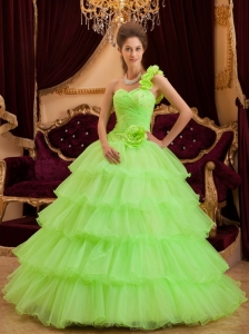Romantic Spring Green Sweet 16 Dress One Shoulder Ruffles / Princess