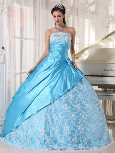 Sweet Aqua Blue Sweet 16 Quinceanera Dress Strapless Taffeta Lace Ball Gown