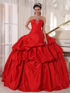 Vintage Red Sweet 16 Quinceanera Dress Sweetheart Taffeta Beading Ball Gown