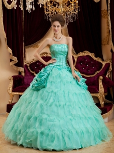 Affordable Apple Green Sweet 16 Dress Strapless Ruffles Taffeta and Organza Ball Gown
