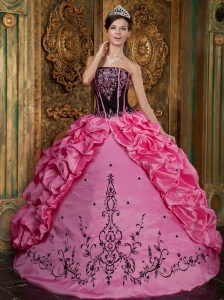 Affordable Rose Pink Sweet 16 Dress Strapless Embroidery Taffeta Ball Gown