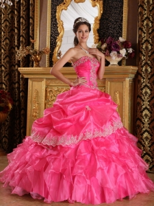 Beautiful Hot Pink Sweet 16 Quinceanera Dress Strapless Organza Ball Gown