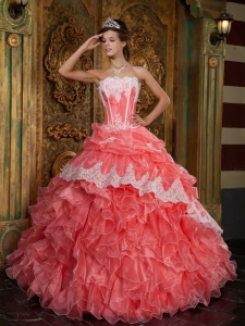 Beautiful Waltermelon Sweet 16 Dress Strapless Ruffles Organza Ball Gown