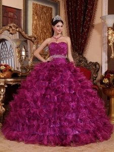 Brand New Fuchsia Sweet 16 Dress Sweetheart Organza Beading Ball Gown