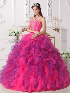 Elegant Hot Pink and Purple Sweet 16 Dress Sweetheart Satin and Organza Embroidery Ball Gown