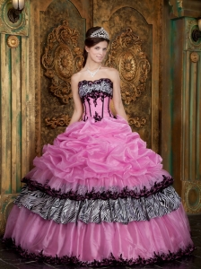 Elegant Rose Pink Sweet 16 Dress Strapless Picks-Up Organza and Zebra Ball Gown