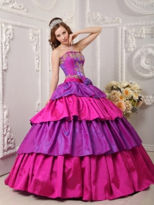 Gorgeous Multi-color Sweet 16 Dress Strapless Taffeta Appliques Ball Gown
