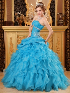 Inexpensive Sky Blue Sweet 16 Dress Organza Beading And Ruffles Ball Gown