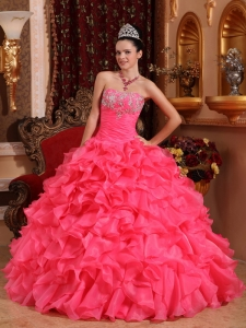 Informal Watermelon Sweet 16 Dress Strapless Organza Beading and Appliques Ball Gown
