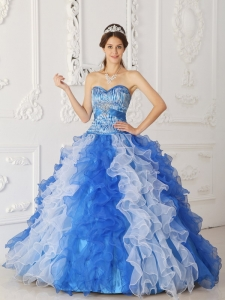 Modern Multi-color Sweet 16 Dress Sweetheart Organza Beading A-Line / Princess