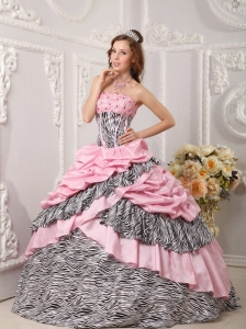 Romantic Pink Zebra Ball Gown Strapless Taffeta and Beading Sweet 16 Dress
