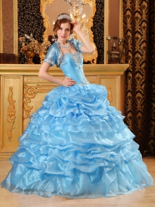 Sweet Baby Blue Sweet 16 Dress Sweetheart Organza Appliques Ball Gown