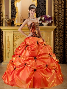 Sweet Orange Sweet 16 Quinceanera Dress Strapless Embroidery Taffeta Ball Gown